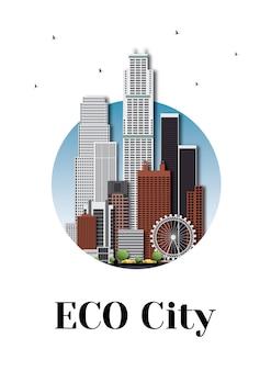 Eco stad architectuur skyline logo ontwerp.