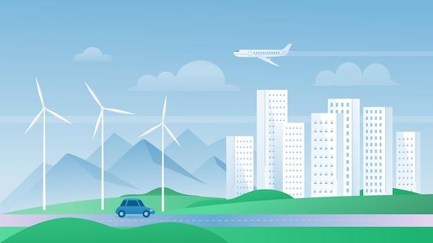 Eco stad concept vectorillustratie, cartoon platte stedelijke zomer moderne stadsgezicht met wolkenkrabbers gebouwen, ecologische windmolens voor veilige omgeving
