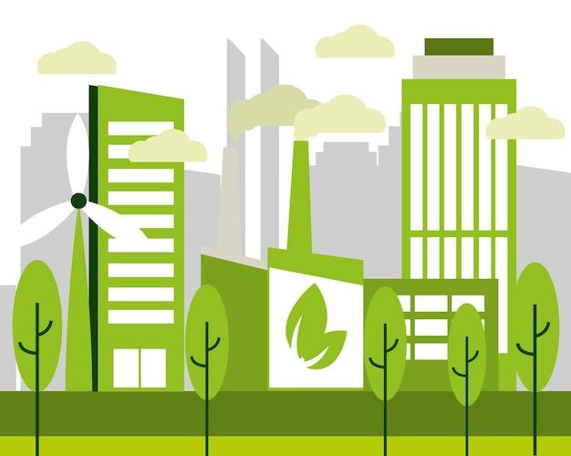Eco stad en fabriek