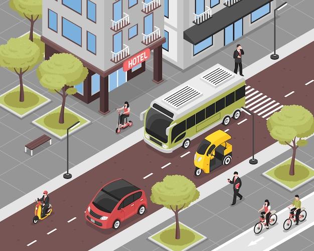 Eco stad illustratie met stadsvervoer en mensen isometrisch