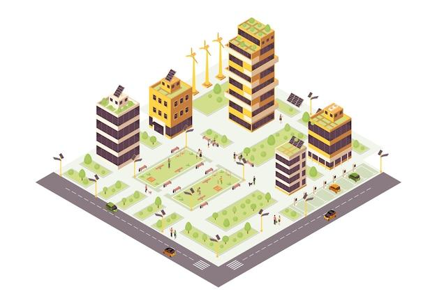 Eco stad isometrische kleur illustratie. eco-vriendelijke gebouwen met zonneretten en bomen infographic. slimme stad 3d-concept. duurzame omgeving. moderne stad. geïsoleerde ontwerpelement