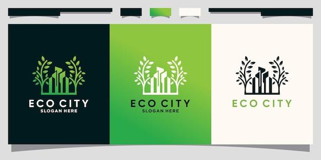Eco stad logo ontwerpsjabloon met creatief concept premium vector
