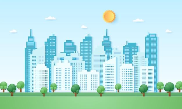Eco-stad, stadsgezicht, gebouw met blauwe lucht en zon, papierkunststijl