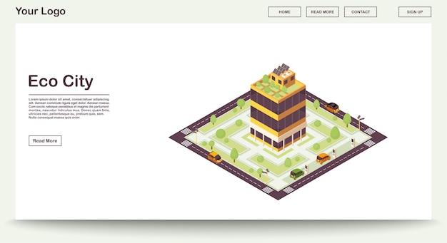 Eco stad webpagina sjabloon met isometrische illustratie. slim bouwen met zonneretten, planten. groen huis. duurzame omgeving. website-interface ontwerp. landingspagina 3d concept