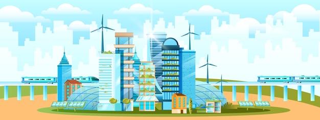 Eco-stadsconcept in vlakke stijl met wolkenkrabbers, windturbines, zonnepanelen, groen, stadsgezicht