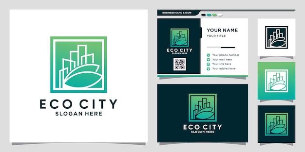 Eco-stadslogo met negatief ruimteconcept en visitekaartjeontwerp premium vector