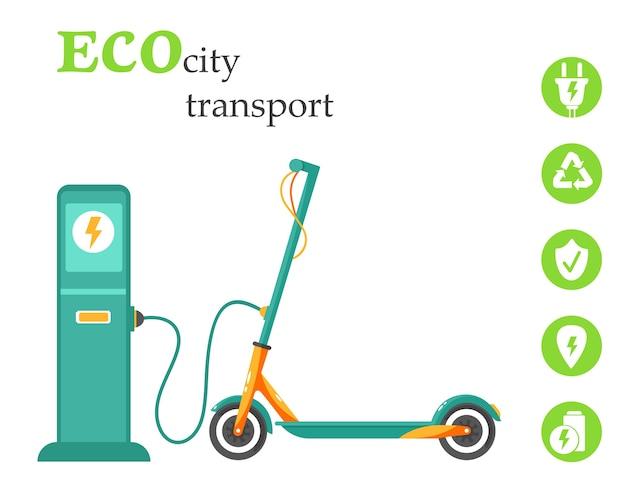 Eco stadsvervoer. elektrische scooter opladen bij een station. concept van natuurbesparing en nieuwe technologie. illustratie in vlakke stijl.