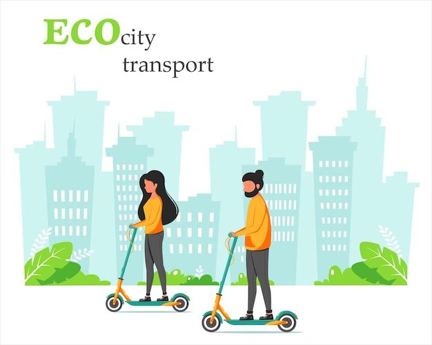 Eco stadsvervoer. man en vrouw rijden kick scooter. stad achtergrond. in vlakke stijl.