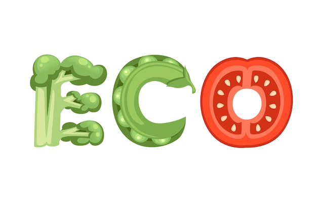 Eco stijl cartoon plantaardige ontwerp platte vectorillustratie geïsoleerd op een witte achtergrond.