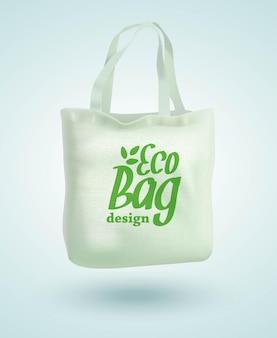 Eco stof doek tas tote geïsoleerd op witte achtergrond