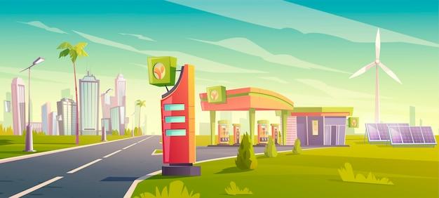 Eco-tankstation, groene stadsautotankservice, natuurvriendelijke benzinewinkel met windmolens, zonnepanelen, gebouw en prijsweergave