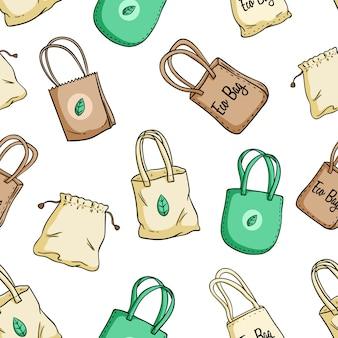 Eco tas of ga groen tas naadloze patroon met gekleurde doodle stijl
