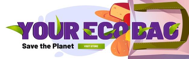 Eco-tas save planet banner met katoenen draagtas