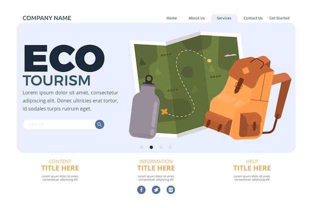 Eco-toerisme bestemmingspagina ontwerp