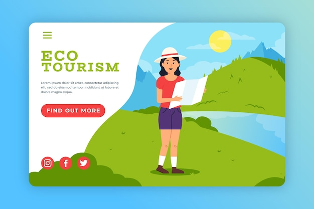 Eco-toerisme bestemmingspagina websjabloon