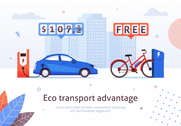 Eco transport advantage. oplaadstation voor elektrische auto's. e-bike gratis recharge vectorillustratie. alternatief transport. ecologische automobile bike environment protection. geldbesparingen