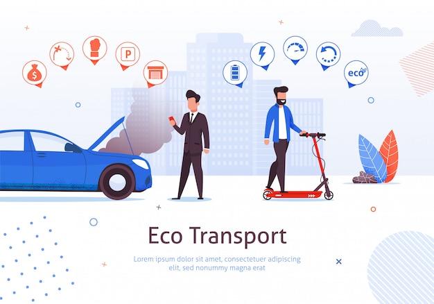 Eco transport. de mens berijdt elektrische autoped vectorillustratie. benzinemotor auto nadelen. luchtverontreiniging uitlaatgasomgeving probleem. ecologische voertuigvoordelen. groen vervoer
