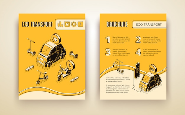 Eco transport isometrische banner set