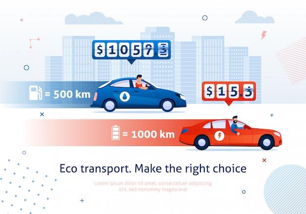 Eco transport. maak juiste keuze. elektrische motor auto benzinemotor auto vergelijking