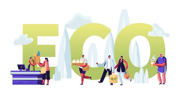 Eco verpakking concept, mensen staan in de wachtrij met herbruikbare verpakking in handen een bezoek aan openluchtwinkel.