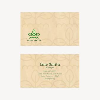 Eco-visitekaartjesjabloon met lijntekeningen-logo in aardetint