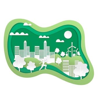 Eco-vriendelijk concept in papierstijl