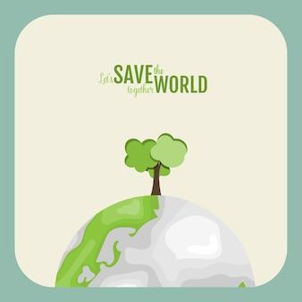 Eco-vriendelijk. ecologieconcept met groene eco-aarde en bomen. illustratie.