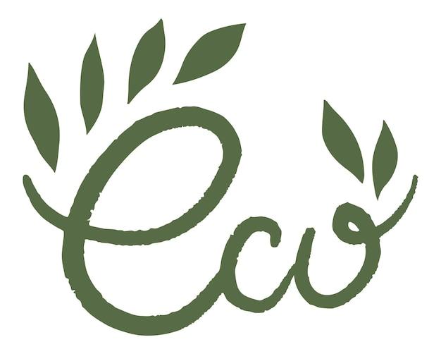 Eco-vriendelijk en natuurlijk productlabel of embleem