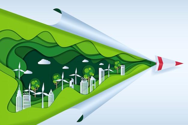 Eco-vriendelijk met papieren vliegtuigje op wolk