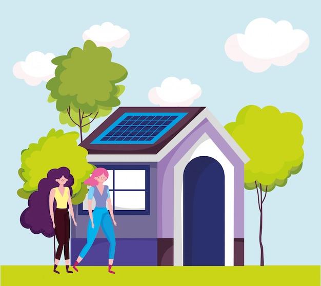 Eco-vriendelijk, vrouwen eco-huis met duurzame zonnepaneelenergie