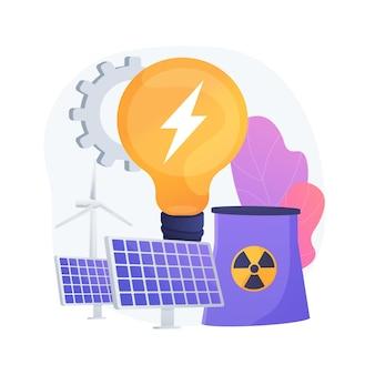 Eco-vriendelijke elektriciteit. windpark, zonnebatterijen, kerncentrale. duurzame energiebronnen. technologieën voor de opwekking van groene elektriciteit.