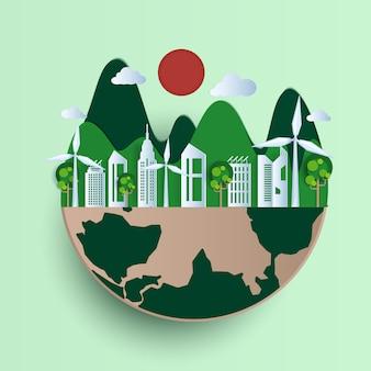 Eco-vriendelijke, groene stad en hernieuwbare energie-concept.