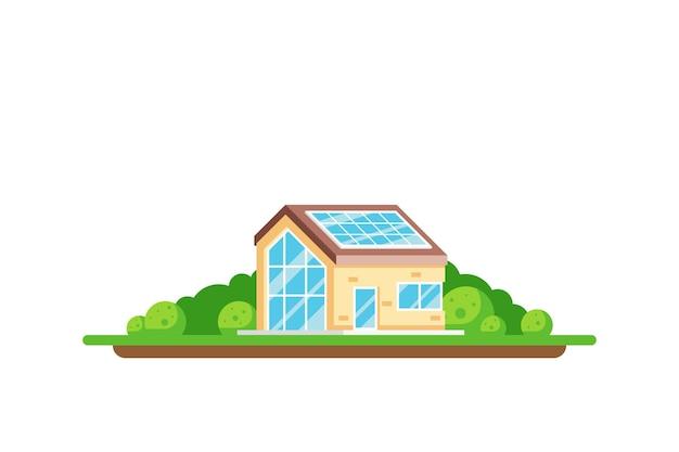 Eco-vriendelijke huis groene energie concept illustratie