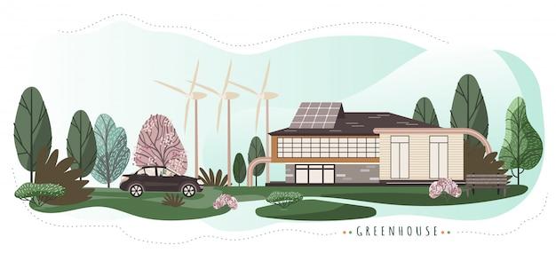 Eco-vriendelijke huis met moderne technologieën, illustratie