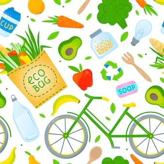 Eco-vriendelijke levensstijl naadloze patroon