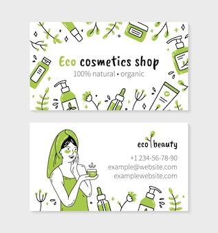 Eco-vriendelijke natuurlijke biologische cosmetica bezoek kaart met vrouw