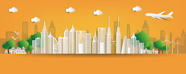 Eco vriendelijke stad illustratie