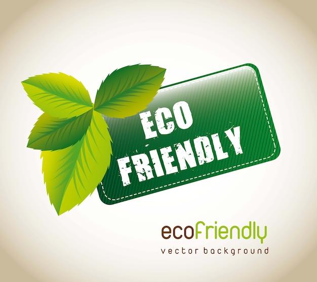 Eco-vriendelijke tag met bladeren op bruine achtergrond. vectorillustratie