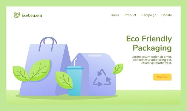 Eco-vriendelijke verpakking boodschappentas beker drinken voedselverpakking recycle campagne