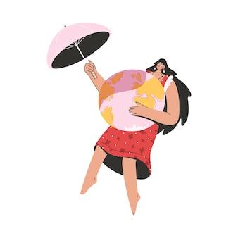 Eco-vriendelijke vrouw die planeet bedekt met paraplu