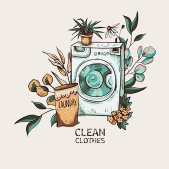 Eco vriendelijke was vintage. wasmachine boheemse illustratie