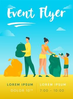 Eco-vrijwilligers die zee- of oceaanstrand schoonmaken van de sjabloon voor vuilnisvliegers