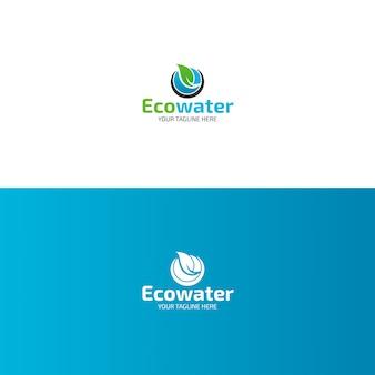Eco water logo-ontwerp met blad