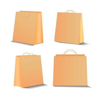 Eco winkelen papieren zak set 3d-realistische stijl geïsoleerd