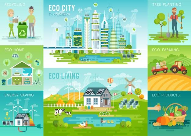 Eco wonen infographic eco stad recycling eco huis groene energie eco landbouw biologische producten concepten