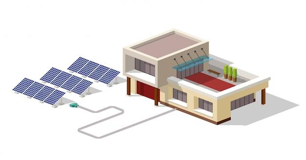 Ecohuis verbonden met zonnepaneleninstallatie