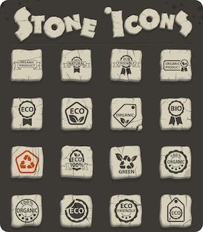 Ecolabel webpictogrammen op stenen blokken in de stijl van het stenen tijdperk voor gebruikersinterfaceontwerp