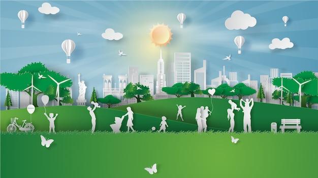 Ecolandschap in de stad amerika van new york met gelukkige familie