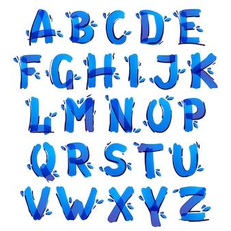Ecologie alfabet met blauwe waterdruppels handgeschreven met een viltstift. vectormarkeringslettertype kan worden gebruikt voor milieuvriendelijke, veganistische, bio, rauwe, biologische sjabloon.