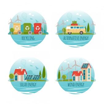 Ecologie, alternatieve energie, groene technologie, biologisch, bio-concept. cartoon banners